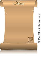 menu parchment