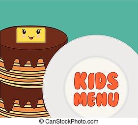 menu, pequeno almoço, crianças, gostoso, panqueca