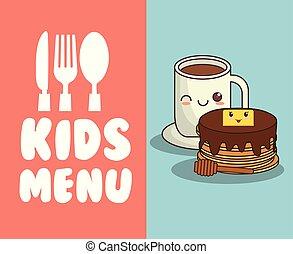 menu, pequeno almoço, crianças, restaurante, nutrição