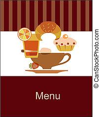 menu, pequeno almoço, gostoso, modelo, desenho