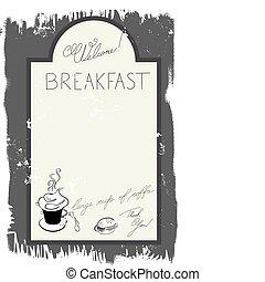 menu, petit déjeuner, gabarit