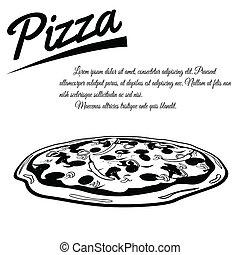 menu, pizza, cartaz