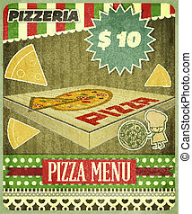 menu, pizzeria, cobertura, retro