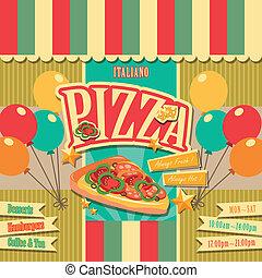 menu, pizzeria