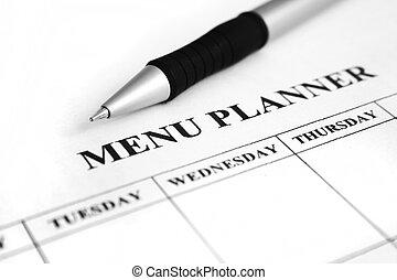 menu, planificateur