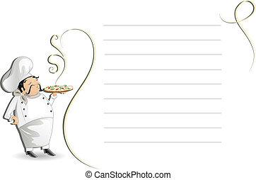 menu, podložka, vrchní kuchař, nota
