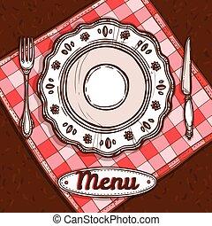 menu, porcellana, piastra