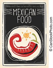 Mexican food menu with red chili - Menu poster design for...