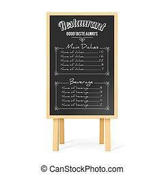 menu, pretas, tábua