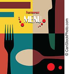 menu, projektować, retro, piękno, restauracja