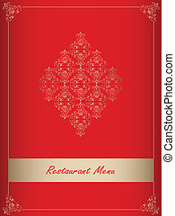 menu, projektować, szczególny, czerwony, restauracja