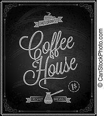 menu, quadro, -, chalkboard, café