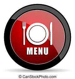 menu red circle glossy web icon on white background - set440