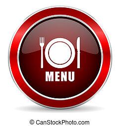 menu red circle glossy web icon, round button with metallic border