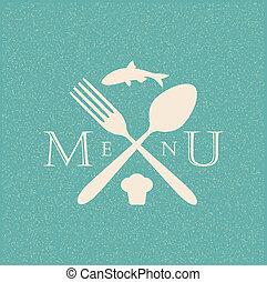 menu, restauracja, retro, afisz