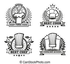 menu restaurant, étiquettes, chef cuistot, vecteur, conception, gabarit, chapeau