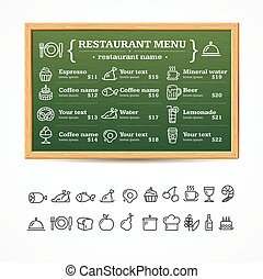 Menu Restaurant Board. Vector
