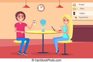 menu restaurant, couple, café, ligne, boire
