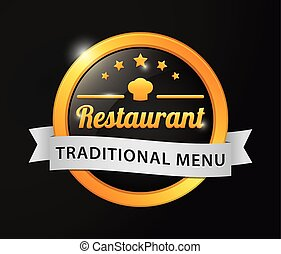 menu restaurant, doré, traditionnel