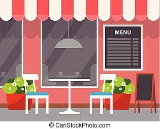 menu restaurant, extérieur, dehors, table, magasin