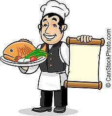 menu restaurant, fish, gabarit, chef., carte