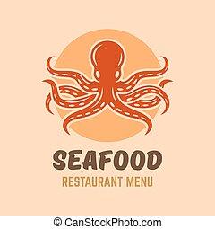 menu restaurant, fruits mer, isolé, logo, poulpe