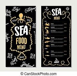 menu restaurant, fruits mer, main, gabarit, dessiné