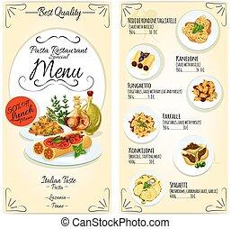 menu restaurant, gabarit, pâtes, carte, italien
