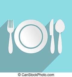 menu, restaurant, icône