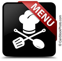 Menu (restaurant icon) black square button red ribbon in corner