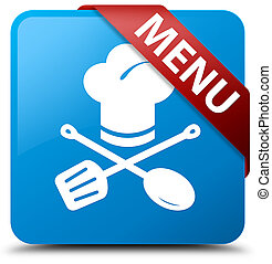 Menu (restaurant icon) cyan blue square button red ribbon in corner