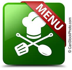 Menu (restaurant icon) green square button red ribbon in corner