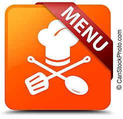 Menu (restaurant icon) orange square button red ribbon in corner