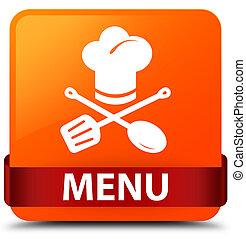 Menu (restaurant icon) orange square button red ribbon in middle
