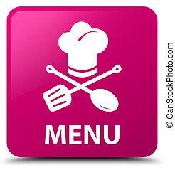 Menu (restaurant icon) pink square button