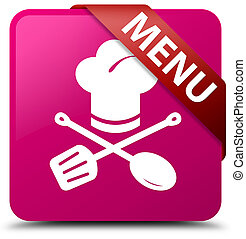 Menu (restaurant icon) pink square button red ribbon in corner