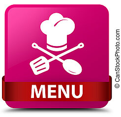 Menu (restaurant icon) pink square button red ribbon in middle