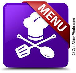 Menu (restaurant icon) purple square button red ribbon in corner