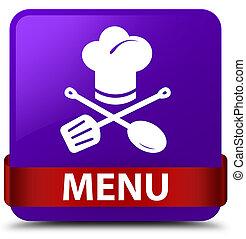 Menu (restaurant icon) purple square button red ribbon in middle