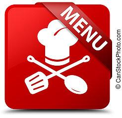 Menu (restaurant icon) red square button red ribbon in corner