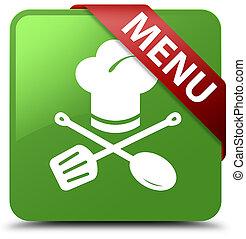 Menu (restaurant icon) soft green square button red ribbon in corner