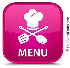 Menu (restaurant icon) special pink square button