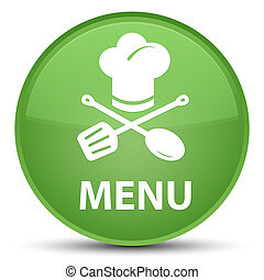 Menu (restaurant icon) special soft green round button