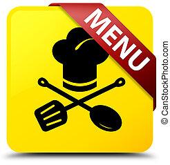 Menu (restaurant icon) yellow square button red ribbon in corner