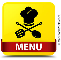 Menu (restaurant icon) yellow square button red ribbon in middle
