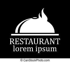 menu, restaurant, noir, icône