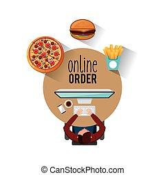 menu, restaurant, ordre, ligne
