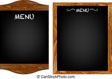 menu restaurant, planke, sæt, hos, tekst