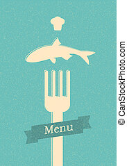 menu, restaurant, retro, affiche