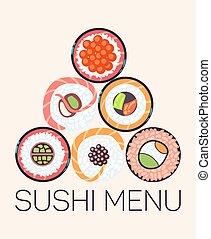 menu restaurant, sushi, japonaise, gabarit, logo